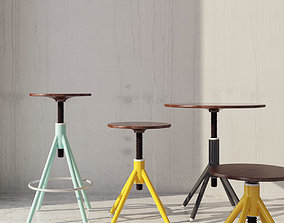 Thread family stools and table 3D asset