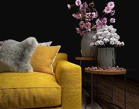 Sofa y almohadas 3D model
