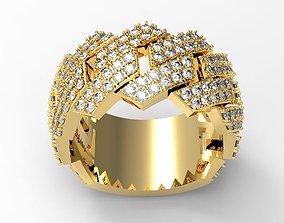 3D print model Cuban 2 rows diamond ring