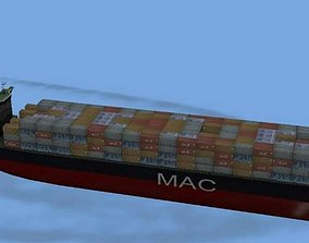 3D asset rigged Container Ship