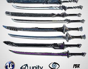 3D asset Sci-fi Swords Pack 4