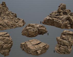 3D model low-poly desert rocks