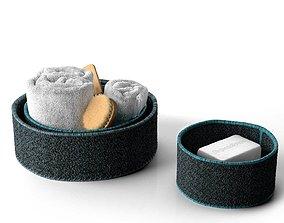 Bath Accessories in Baskets 3D model
