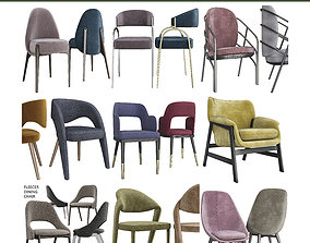 realtime Chair and Armchairs 3d model collection 10 pieces
