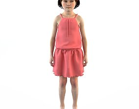 Girl dress t shirt skirt Baby clothes 3D model character
