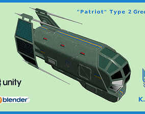 3D asset Spaceship Patriot Type 2 Green