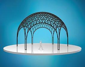 3D asset hexadome dense hexagonal dome glass and wire 2