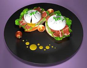 poached eggs 3D model