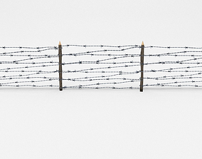 Lowpoly Barb Wire Obstacle 3D asset