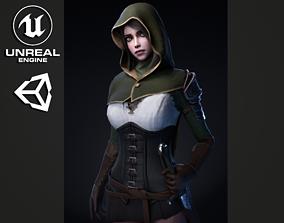 3D asset Swordsman Girl - Game Ready