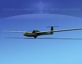 3D model rigged low-poly Venture Sailplane aircraft