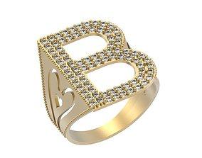 3D printable model Letter B Ring