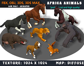 3D model Low Poly Animals Africa Cartoon Collection - 1