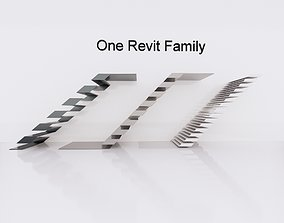 Special Stairs created in Revit Family 3D asset