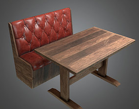 Booth Table Dive Bar - PBR Game Ready 3D asset