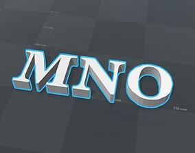 3D printable model MNO letters alphabet