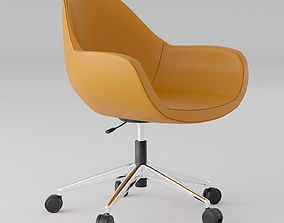 3D model Orange leather office chair