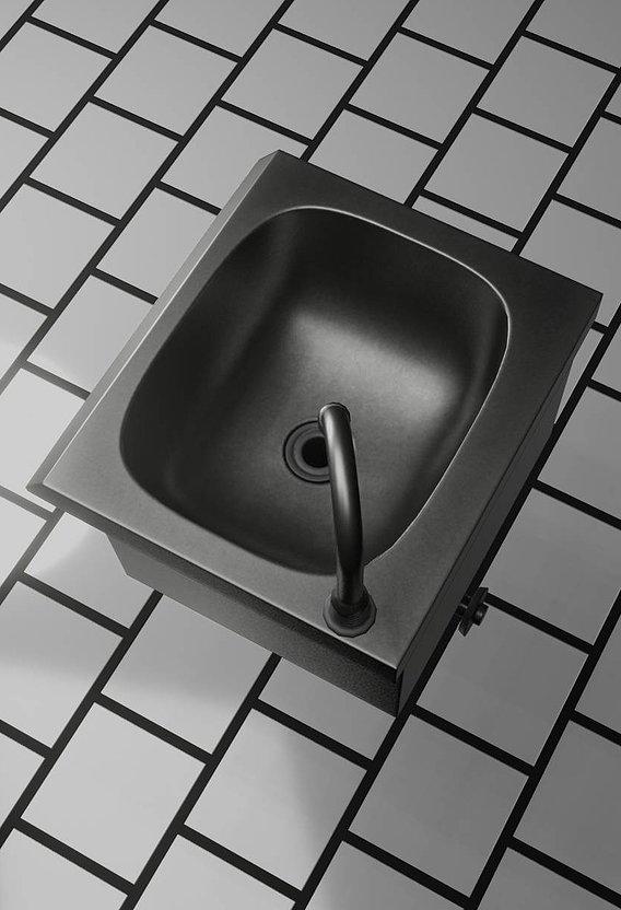 Public Metal Sink  -1- Simple Low-Poly (Blender-2.92)