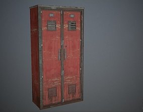 Iron locker police station office furniture 3D asset 1