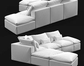Custom made sectional sofa in white upholstery 3D