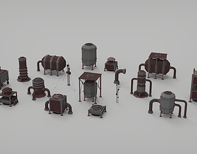 Rooftop pack - 17 Pieces 3D asset