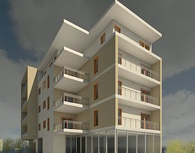 Modern commercial appartment building 3D