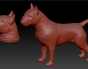 3D print model full body bull terrier and head with a