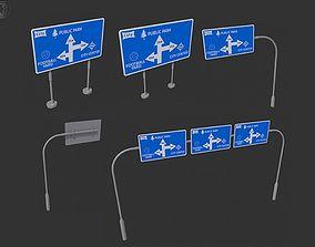 low-poly Roadside signpost 3D Models - game assets