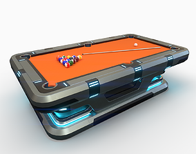 Lowpoly Scifi Pool Table 3D asset