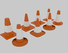 Low Poly Traffic Cone Pack 3D model