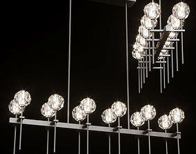 RH BOULE DE CRISTAL GRAND DOUBLE LINEAR CHANDELIER 3D