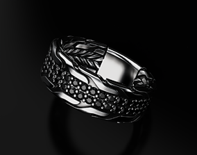 Stylish ring with onyx 603 3D print model