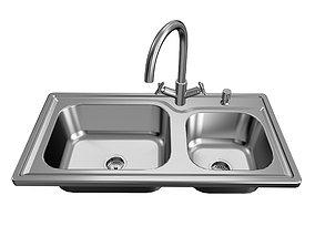 3D Kitchen Double Sink