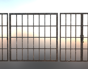 3D asset Iron Dungeon Prison Bars With Chains and Padlock