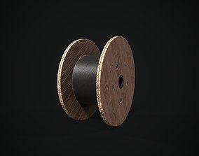 Cable reel 3D model game-ready