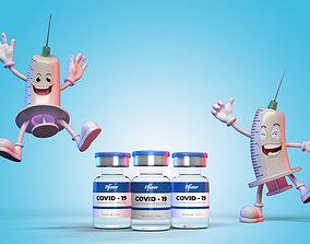 Syringe Man Character 3D model character