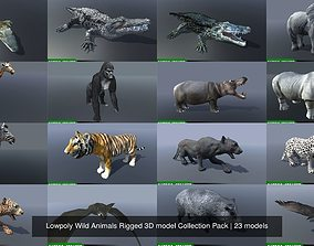 Lowpoly Wild Animals Rigged 3D model Collection Pack