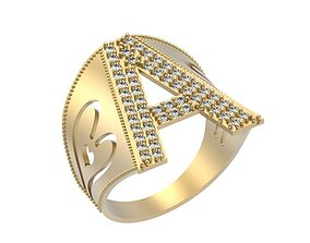 Letter A Ring 3D printable model
