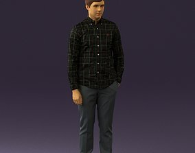 Man in black yellow tshirt 0409 3D model