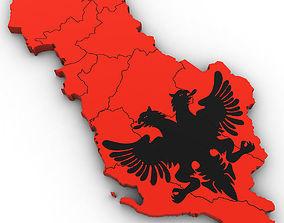 3d Political Map of Albania albania