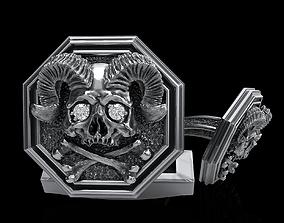 skull cufflinks 3D printable model skeleton