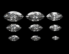 Diamond Marquise Different Sizes 3D