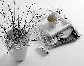 Morning Composition with Magazines Coffee and Vase 3D