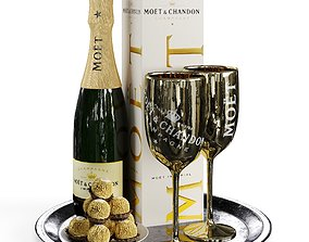 3D model Champagne On A Tray set 2