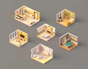 Low poly Rooms pack 3D asset