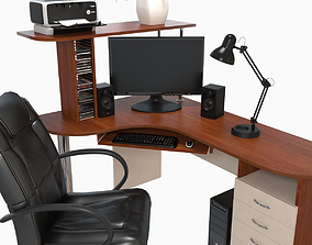 3D model computer desk workstation