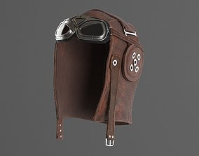 3D model WWII Aviator goggles and hat