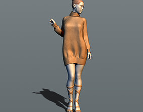 Girl in a knitted sweater 3D print model