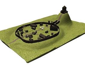 Early medieval castle 3D asset realtime