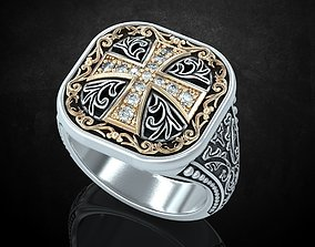 3D printable model Ring with patterns and a cross 2
